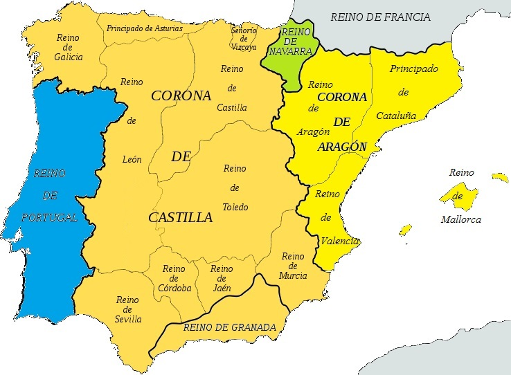 Map of Spain circa 1400
